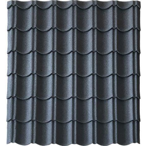 Panneau tuile facile 1030 X 950 MM en acier galvanisé aspect granulé minéral - Coloris - Gris anthracite mat, Largeur - 950 mm, Longueur - 1030 mm