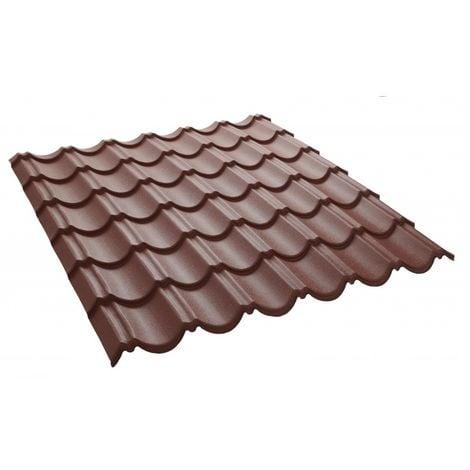 Panneau tuile facile 1030 X 950 MM en acier galvanisé laqué mat - Coloris - Brun rouge mat, Largeur - 950 mm, Longueur - 1030 mm