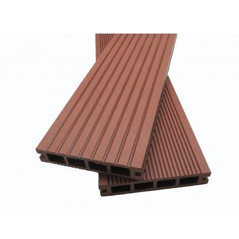 Lame terrasse bois composite alvéolaire Dual - Coloris - Brun rouge, Epaisseur - 25mm, Largeur - 14 cm, Longueur - 240 cm, Surface couverte en m² - 0.34