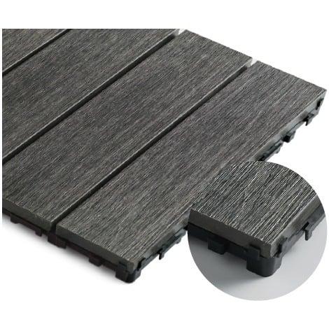 Caillebotis en composite coextrudé haute densité 30 x 30 cm - Coloris - Charbon, Largeur - 30 cm, Longueur - 30 cm, Surface couverte en m² - 0.091 par dalle soit 11 dalles pour 1