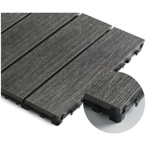 Pack 1 m² caillebotis en bois composite coextrudé (11 pièces 30 cm x 30 cm) - Coloris - Charbon, Surface couverte en m² - 1