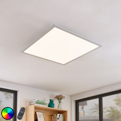 LED Ceiling Light 'Milian' dimmable with remote control (modern) in White made of Aluminium (1 light source, A+) from Lindby | ceiling lamp, lamp