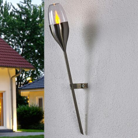 outdoor solar lights 'Jari' (modern) in Silver made of Stainless Steel (1 light source, A+) from Lindby | Decorative Solar Lights