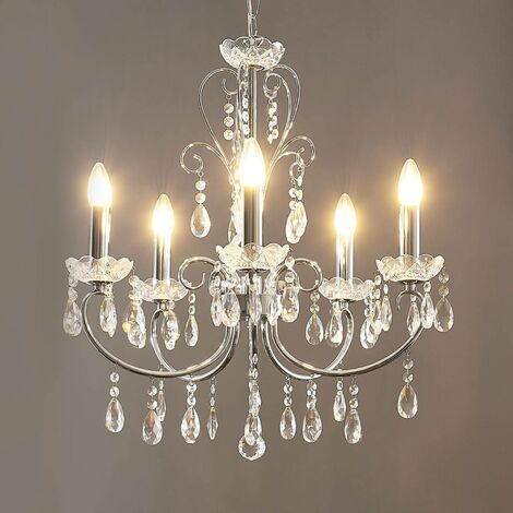 Ceiling Light 'Solveig' dimmable (crystal) in Silver made of Metal (5 light sources, E14, A++) from Lucande   chandeliers, lighting, Lamp, pendant light, hanging lamp, lamp, ceiling lamp