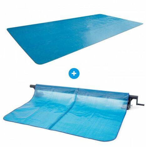 Pack Bâche à bulles pour piscine rectangulaire XTR 7,32 x 3,66m + Enrouleur Intex