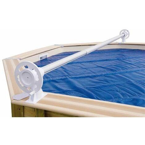 Enrouleur de bâche à bulles pour piscine en bois Ubbink Luxe - Bleu