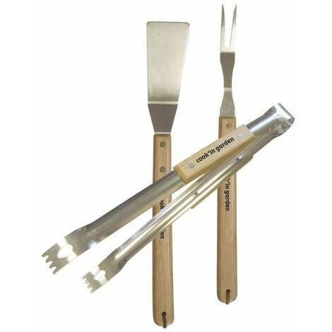 Set pince + fourchette + spatule inox et bois Cook'In Garden