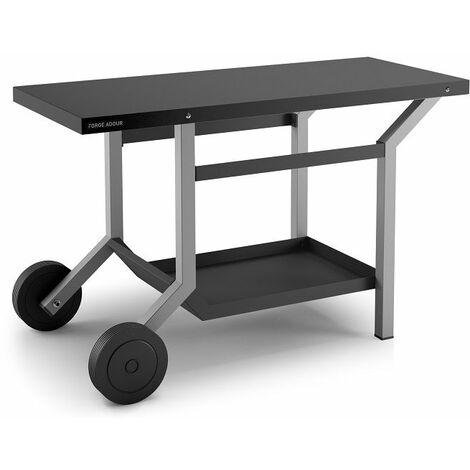 Table roulante en acier pour plancha Forge Adour - Noir et gris clair mat - Gris/Noir