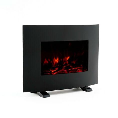 Cheminée Électrique Poêle à Poser/Murale 2000 W Kekai Iowa 55x22x43 cm Illusion Flamme Thermostat Noir