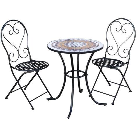 Salon de Jardin Bistrot Table 2 Chaises pour Balcon Chillvert Anghiari Pliante en Acier Mosaïque Céramique