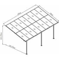 Pergola Gardiun Elliot - 15 m² 495x300x225/270 cm Aluminium et Polycarbonate