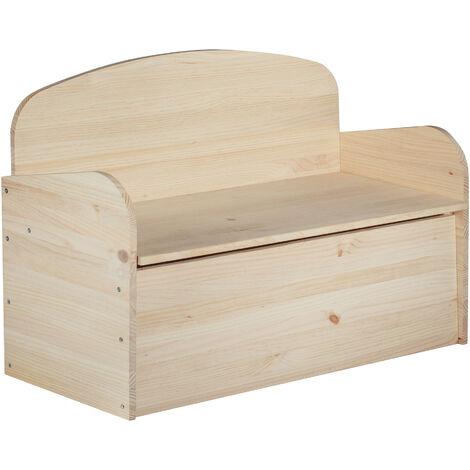 Banco baúl infantil de madera maciza de pino 62x90x38 cm