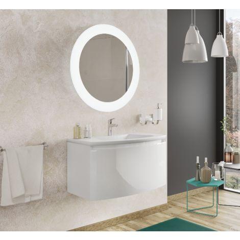 Meuble de salle de bain suspendu 100 cm Venere Blanc Brillant avec Lavabo en céramique et miroir   Standard