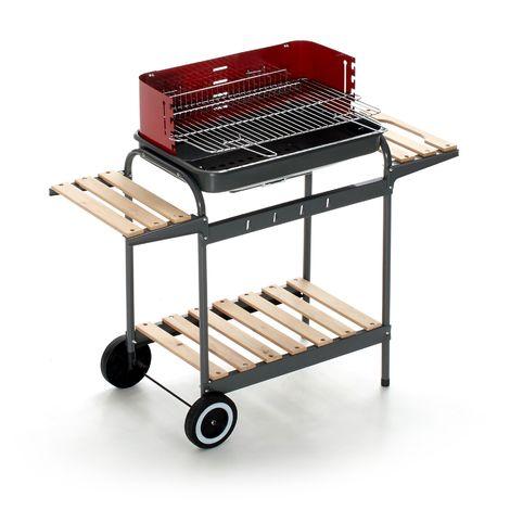 Barbecue charbon de bois avec structure en acier et coupe-vent   Acier