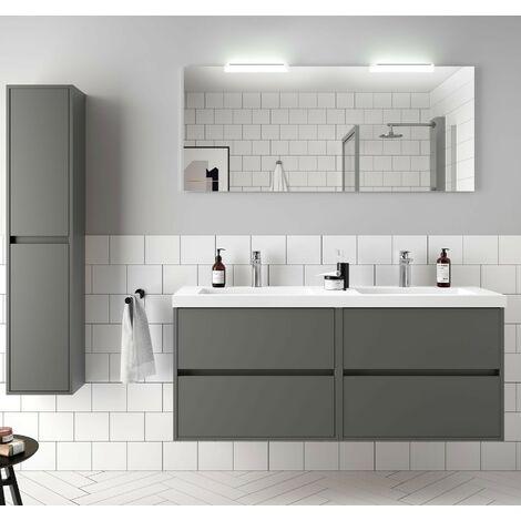 Meuble de salle de bain suspendu 140 cm Gris mat avec Lavabo en charge minéral | Avec double colonne - 140 cm
