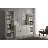 Bibliothèque 190 cm Blanc mat avec 6 étagères série Stoccolma | Blanc