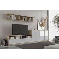 Etagère 100x30xh33 cm Chêne avec 3 compartiments série Stoccolma | Chêne clair