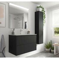 Meuble de salle de bain suspendu 80 cm Ulisse en bois couleur Noir mat avec lavabo en porcelaine   80 cm - Standard