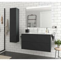 Meuble de salle de bain suspendu 100 cm Ulisse en bois Noir mat avec lavabo en porcelaine | 100 cm - Standard