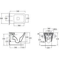 Set de sanitaires suspendus en céramique 36x54 cm série Crio | Blanc brillant - Avec abattant wc soft-close