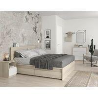Ensemble de 2 tiroirs de lit 100,5x68 cm Chêne série Helsinki   Chêne clair