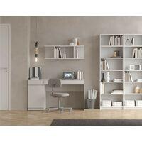 Bureau 140x55,5 cm avec une porte et deux tiroirs blanc mat série Helsinki   Blanc