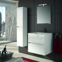 Colonne de bain suspendu moderne en bois blanc brillant | Blanc