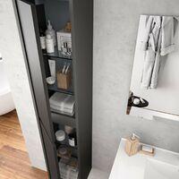 Colonne de bain suspendu moderne en bois gris opaque | Gris opaque