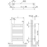 Radiador Toallero de Agua Caliente Cicsa ZETA X 770x500 mm Negro