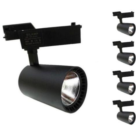 Spot LED sur Rail 30W 80° SMD Monophasé NOIR (Pack de 5) - Blanc Neutre 4000K - 5500K - SILAMP