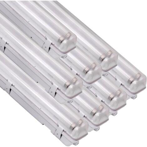 Réglette LED étanche double pour Tubes lumineuse LED T8 120cm IP65 (boitier vide) (Pack de 8) - SILAMP