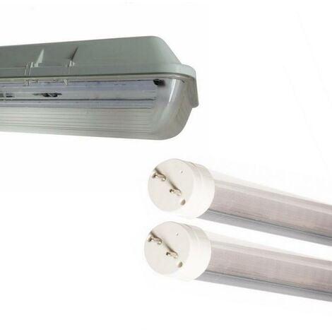 Kit de Réglette LED étanche Double pour Tubes T8 150cm IP65 (2 Tubes Néon lumineuse LED 150cm T8 24W inclus) - Blanc Chaud 2300K - 3500K - SILAMP