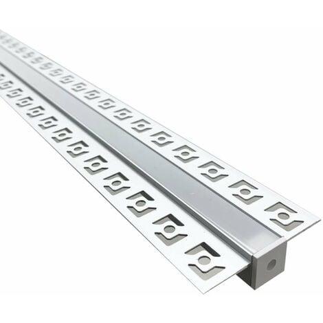 Profilé Aluminium encastrable 1m pour Ruban LED Couvercle Blanc Opaque - SILAMP