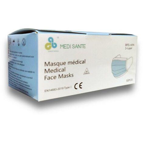 Masques Médicaux CE - Bleus 3 Plis jetables - Boîte de 50 - SILAMP