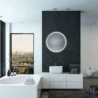 Miroir LED Rond 32W 58cm avec Interrupteur Tactile Cadre Blanc pour Salle de Bain - SILAMP