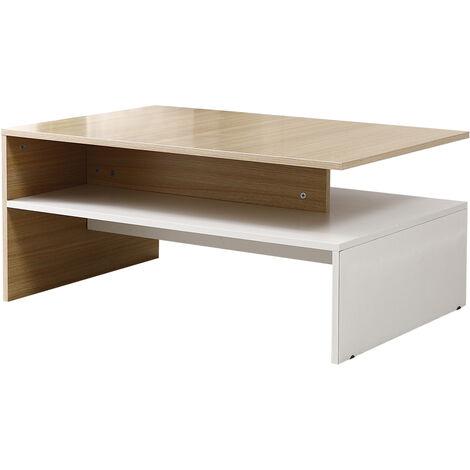 table basse de salon design table de salon en bois moderne avec rangement 90 60 42cm chene blanc chene blanc