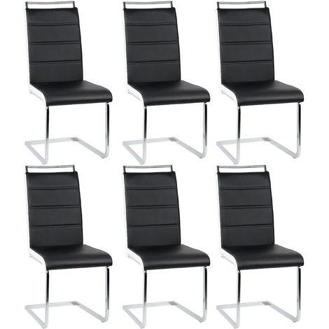 Lot de 6 chaises pour Salle à Manger Noires et Blanches