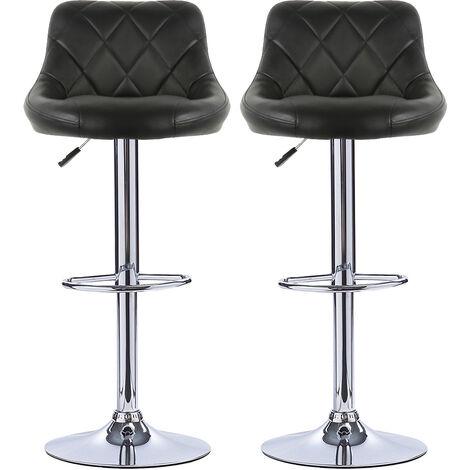 OOBEST® Lot de 2 tabourets de bar, hauteur réglable et rotation à 360° (85-105cm), Noir - Noir