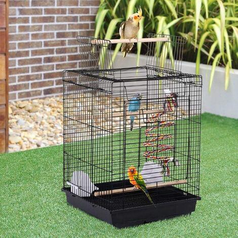 WIHHOBY Cage à Oiseaux 40 x 40 x 58 cm Cage pour Perruche Canari Calopsitte Corde de Jouet Ouverture Supérieure