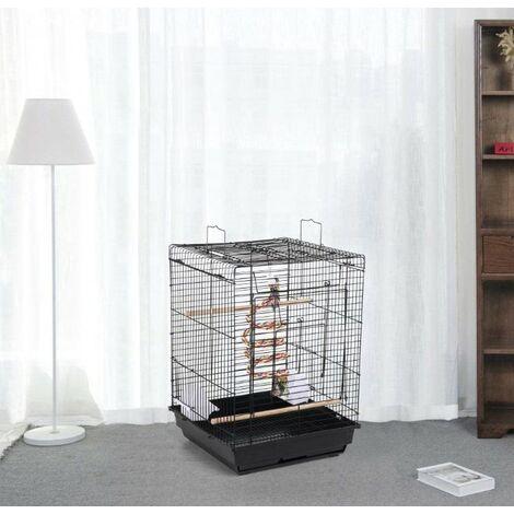 Cage à Oiseaux Portable, Cage Oiseaux Interieur avec Poignée et Toits Ouvrant, 40 x 40 x 58cm, Équipée 3 Perchoir en Bois, 2 Mangeoires, 2 Jouets, Oiseaux Perruche Perroquet Canari (Noir)