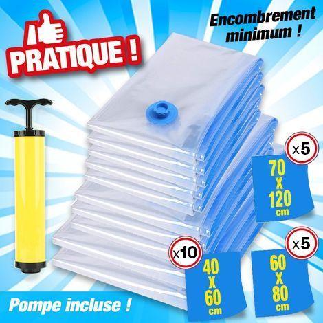 OOBEST® Lot de 20 sacs de rangement sous vide avec pompe