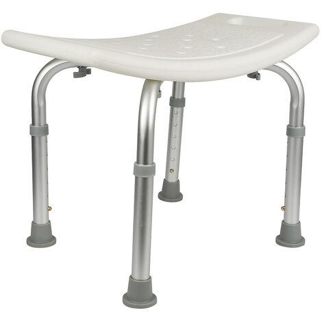 Siège de douche réglable en hauteur tabouret de douche ergonomique pieds antidérapants charge max. 136 Kg alu HDPE blanc