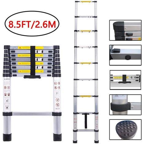 Echelle Télescopique 2,6M en Aluminium avec 9 Echelons,2 Pieds Antidérapants,Charge Max 150KG,74CM-260CM pour Intérieur Extérieur