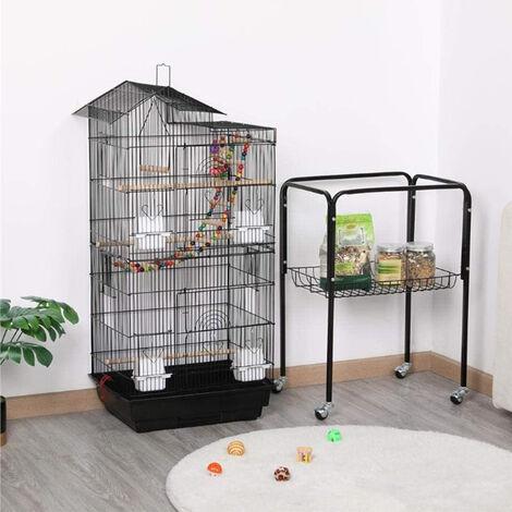Cage Oiseaux sur Roulettes Volière avec Echelles Jouets pour Perruche Calopsittes Inséparables Mandarins Canaris 46 x 35,5 x 158,5 cm
