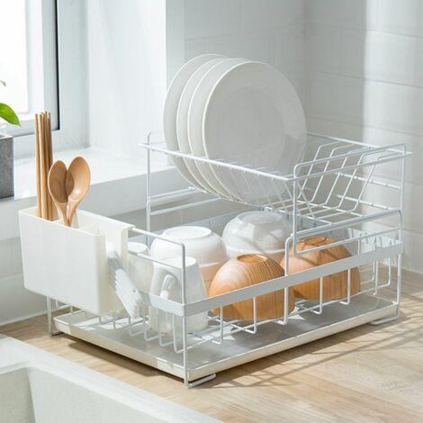 Egouttoir Vaisselle Double Niveau Couverts Cuisine Rangement Blanc - Blanc