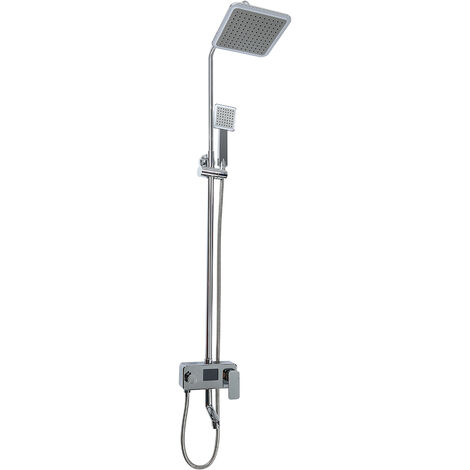 Colonne de Douche avec Écran LCD pour Afficher la Température d'eau et le Temps de Douche Colonne Douche Salle de Bain Chrome