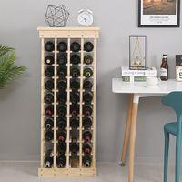 WIHHOBY Étagère à bouteilles en bois - Meuble range bouteille - Casier à vin - Capacité de 44 bouteilles - 46,5 x 27,5 x 113 CM
