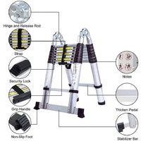 Échelle Telescopique 3.8 mètres(1.9m+1.9m) , Échelle Pliable en Aluminium