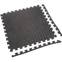 Tapis de Sol de Gym Sport avec 12 Dalles de Protection en Mousse 63 cm x 63 cm Noir