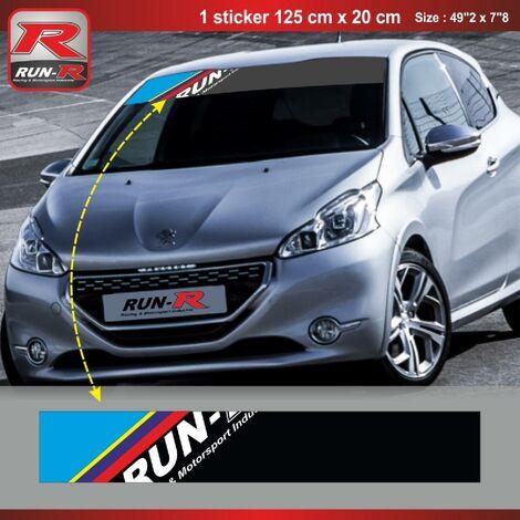 Sticker pare-soleil Run-R 00BQ PS Color 125x20cm compatible avec Peugeot